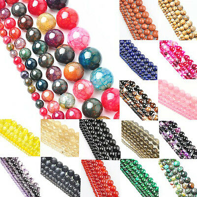 DIY Mixed Natural Gemstone Round Spacer Loose Beads  4mm 6mm 8mm 10mm 12mm