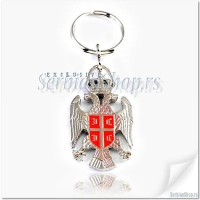 KeyChain Ring Coat of Arms Serbian Serbia Silver Color