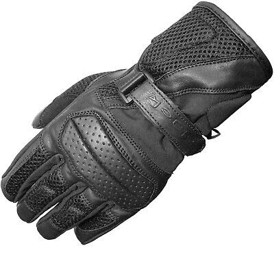 Black Airflow Leather Mesh Summer Motorcycle Gloves Vented Motorbike Bike Tour