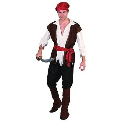 Pirate Man (Brown Waistcoat), Fancy Dress, Jack Sparrow, Party, Ship #US