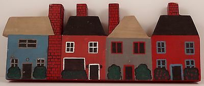 """Vintage Handmade Hand Painted Wooden """"Old Style Village"""" Wall Art"""