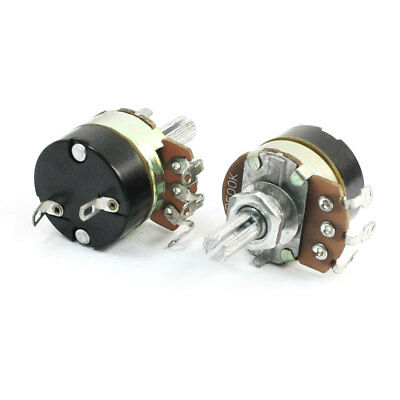 2 Pcs B500K 500K Ohm ON/OFF Switch Linear Carbon Film Rotary Potentiometer