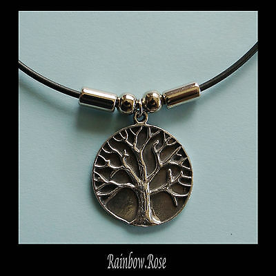 Choker #159 Pewter TREE OF LIFE (26mm wide) Rubber Silicon Cord Necklace unisex