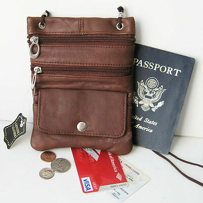 Brown Soft Leather Passport ID Holder Neck Pouch Travel Cross Body Strap Bag
