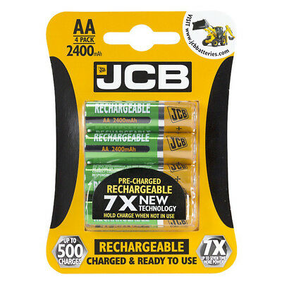 1 PACK OF 4 AA JCB 2400mAh Nimh RECHARGEABLE BATTERIES