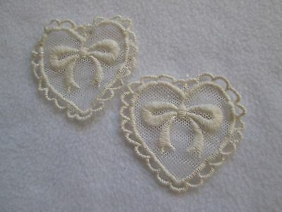 1 Pr EMBROIDERED ON NET CREAM LACE HEARTS with BOW APPLIQUE'S