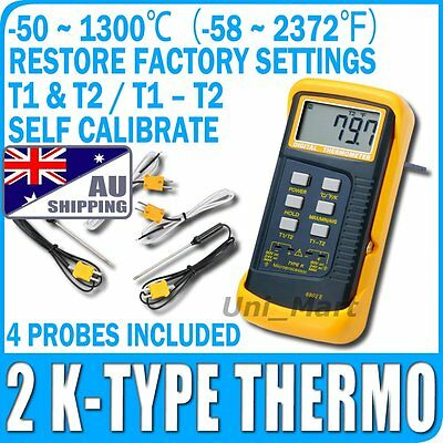AU Digital K-Type Sensor Thermometer Metal Thermocouples 4 Probe 1300°C 2372°F
