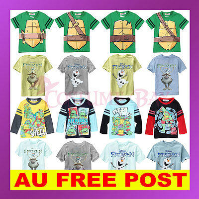 Kids Girl Boy Short Long Sleeves Frozen Olaf Sven TMNT Ninja Turtle T-Shirt Top