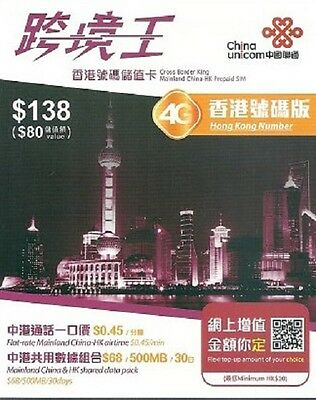 China, Hong Kong Unicom Dual Number Prepaid SIM Card. 3G Data is Available