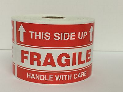 100 Large Labels 3x5  FRAGILE This Side Up Handle with Care Shipping Stickers