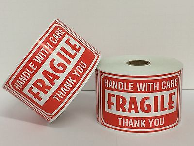 250 BIG Labels 3x5 FRAGILE Handle With Care Mailing Shipping Warning Stickers