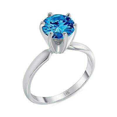 1.25 Ct Round Blue Real 14K White Gold Solitaire Engagement Wedding Promise Ring