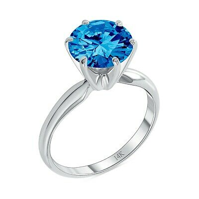 3 Ct Round Blue Solid 14K White Gold Solitaire Engagement Wedding Promise Ring