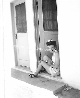 Vintage Old 1950's Photo Pretty Sexy Woman Girl Shorts Sitting in Motel Doorway
