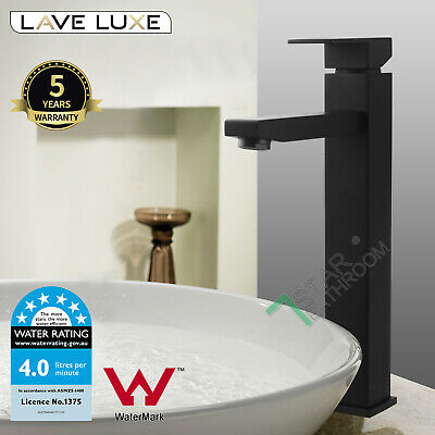 Brass Tall Square High Rise Bathroom Basin Sink Mixer Tap Faucet Watermark Wels