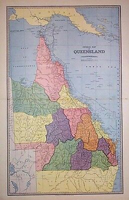 Antique Map of Queensland with major regions highlighted c1886