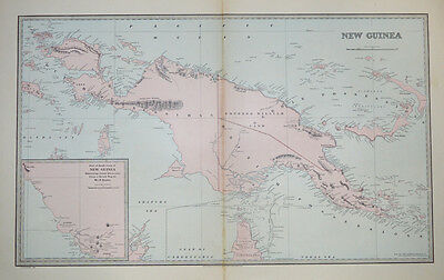 Papua New Guinea antique map with recent discoveries c1888