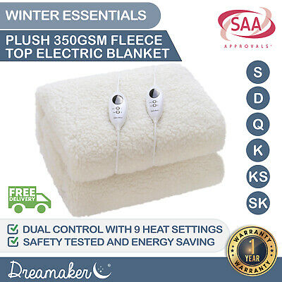 350GSM FLEECE ELECTRIC BLANKET Heated Fleecy Topper Underlay Protector WASHABLE