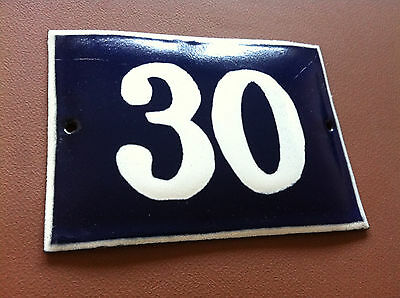 ANTIQUE VINTAGE FRENCH ENAMEL SIGN HOUSE NUMBER 30 DOOR GATE SIGN BLUE 1950's