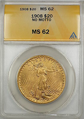 1908 No Motto $20 St. Gaudens Double Eagle Gold Coin ANACS MS-62 SB