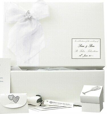 PERSONALISED Simple Linen +Silver STD Wedding Keepsake Box 5 Motifs/12 Colours