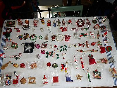CHRISTMAS ORNAMENTS,  LOT OF 100 PIECES, BARN FIND, OLD, VINTAGE WITH CASE