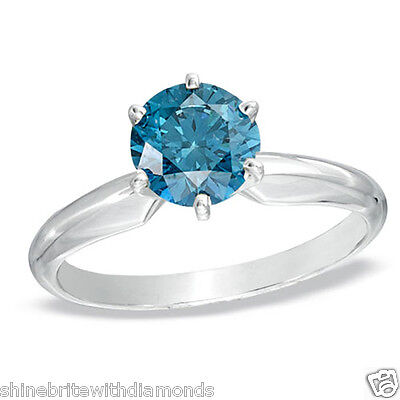 3.50 Ct Round Blue Real 18K White Gold Solitaire Engagement Wedding Promise Ring