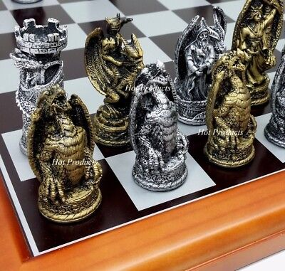 "GOTHIC DRAGON FANTASY CHESS Set 16"" CHERRY FINISH W/ BLACK & SILVER BOARD"