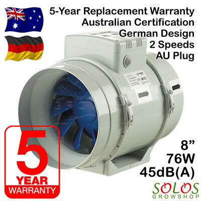 "HYDROPONIC INLINE EXHAUST FAN 8""/200mm FOR CARBON FILTER VENTILATION BLAUBERG"