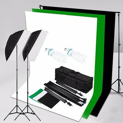 1250W Studio Softbox Continuous Lighting Kit + Background Backdrop + Stand & Bag