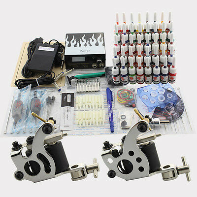 Complete Tattoo Kit 2 Guns Machines Grips Power Supply Foot Switch 20 Inks J19