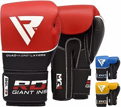 RDX Leather Gel Boxing Gloves Sparring Punch Bag Muay Thai kickboxing Training