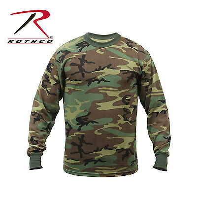 TACTICAL LONG SLEEVE Camo Tee Mens Woodland Camouflage Military Army ... f25c3ce0eb9