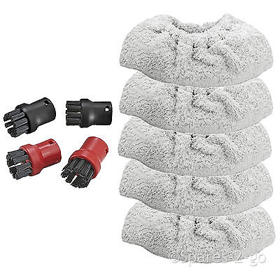 Brush Nozzle Tools + Terry Cloth Covers for KARCHER Steam Cleaner SC1