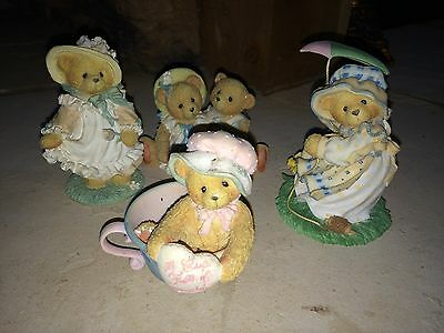 Cherished Teddies Lot Of 4 Figures/Figurines Enesco Limited Spring Theme EUC!
