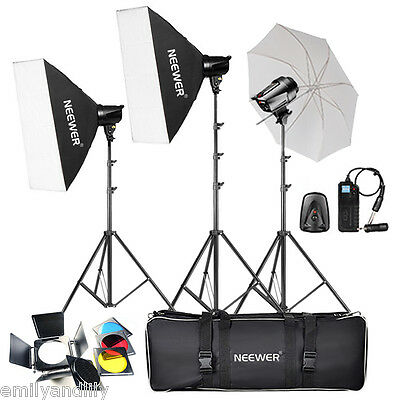 Neewer 540W (180W x 3) Studio Flash Strobe Monolight Umbrella Softbox Kit