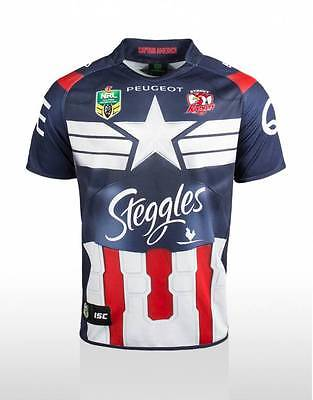 Sydney Roosters ISC Marvel 2015 Captain America Jersey Sizes S-5XL! BNWT's!
