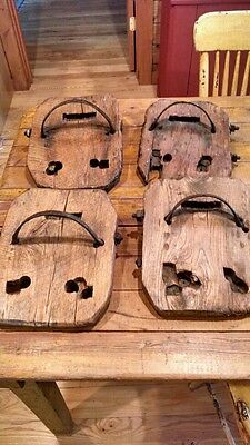 Set of 4 Vintage Wood  & Iron Horse Bog Shoes Mud Marsh Snow Antique Primitive