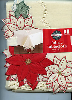 Christmas Ivory with Red Poinsettia Cutwork Corners Tablecloth Choose Size