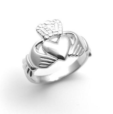 Claddagh Ring Solid Silver Rhodium Platinum Finish Large Sizes Heavy 5.5g