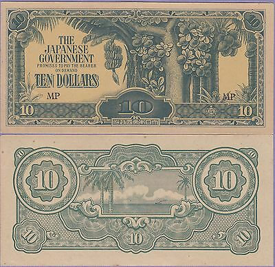 Malaya-Japanese Government 10 Dollars Banknote 1942 Ch,About Uncirculated#M-7-C
