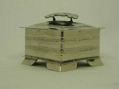 Hand Made German Silver Hammered Jewelry Trinket Box Mexico