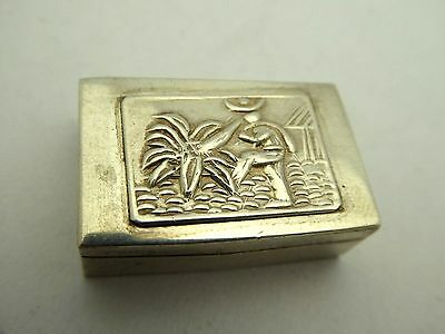 Vintage Sterling Silver Small Hinged Mexico Modernist Farmer Trinket Pill Box