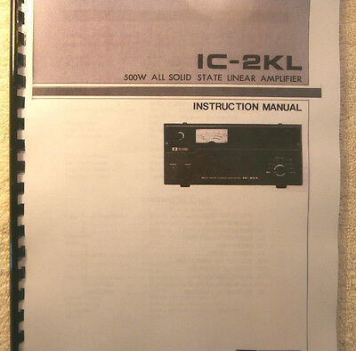 Icom IC-2KL Instruction manual - Premium Card Stock Covers & 28 LB Paper!