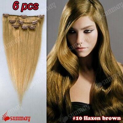 "100%  Human Clip In Real Remy Hair Extensions Full Head 16""18""20""22""24""26''"