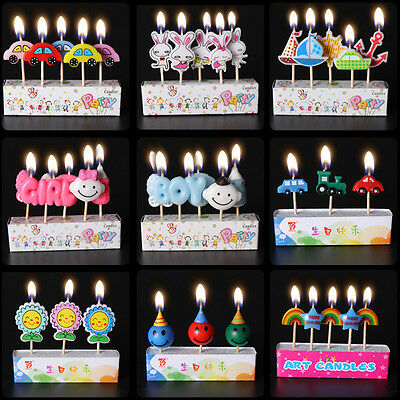 5Pcs Happy Birthday Cartoon Party Cake Candle Candles Cake Topper Decorations