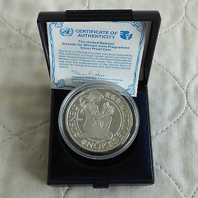 HUNGARY 1984 UNITED NATIONS DECADE FOR WOMEN 500 FORINT SILVER PROOF - boxed/coa