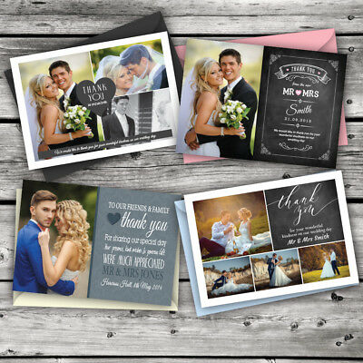 Personalised Wedding Thank You Cards with Photo + Free Coloured Envelopes