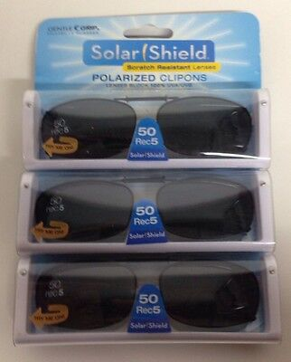 3 SOLAR SHIELD Clip-on Polarized Sunglasses 50 Rec 5 Black lens Full Frame