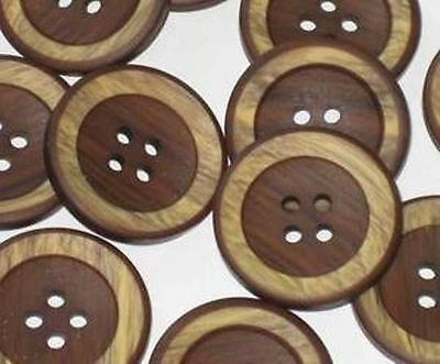 """Set 14 CHOCOLATE & CREAM Vintage New Wooden Buttons 1"""""""
